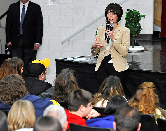 Brad Davis/The Register-Herald<br /> Fayette County Schools Superintendent Dr. Serena Starcher addresses a packed auditorium at Oak Hill High School Wednesday night during a community forum on the status of the Collins Middle School situation.