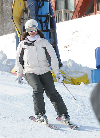 Rick Barbero/The Register-Herald<br /> Deputy secretary of commerce and commissioner of tourism, Amy Shuler Goodwin,  skiing at Winterplace Ski Resort during the hosted event the West Virginia of Division of Tourism held a go outside and ski in celebration of learn to ski and snowboard month.
