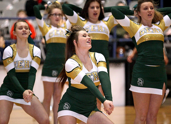 Brad Davis/The Register-Herald<br /> The Greenbrier East cheerleaders perform during a break in Big Atlantic Classic action Thursday night at the Beckley-Raleigh County Convention Center.