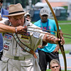 "Brad Davis/The Register-Herald<br /> Byron Ferguson, known as the world's most amazing archer, pulls back on his bow for a ""double-barreled shot"" during a special demonstration at the Summit Bechtel Reserve's Veterans Appreciation Day Saturday afternoon in Fayette County. Hundreds of veterans and their families, along with boy scout troops from all over and active duty service members attended a day full of activities and an evening concert by country singer Aaron Tippin. Athletes and representaives from the Wounded Warrior Project, the Stand Up and Play Foundation, Paralyzed Veterans of America and the West Virginia National Guard also took part in the event."