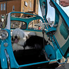 Brad Davis/The Register-Herald<br /> An old English sheep dog named Diesel enjoys the comfort of a 1957 BMW Isetta owned by Tim Carrico Friday evening.