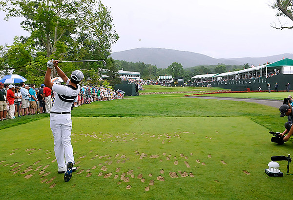 Brad Davis/The Register-Herald<br /> Danny Lee tees off on 18 during final round Greenbrier Classic action Sunday in White Sulphur Springs.