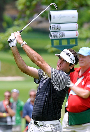 Brad Davis/The Register-Herald<br /> Bubba Watson shoots from the fairway during final round Greenbrier Classic action Sunday in White Sulphur Springs.