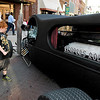 "Brad Davis/The Register-Herald<br /> Charleston area youngster Ethan Arthur, 9, checks out a ride affectionately known as ""Reaper's Rod"" sits on display Friday evening."