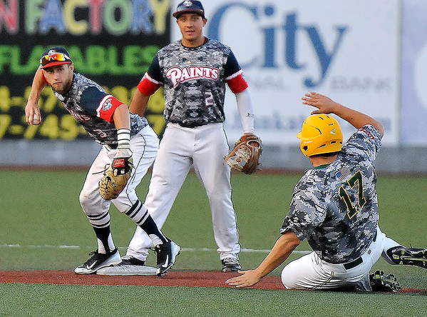Brad Davis/The Register-Herald<br /> Chillicothe shortstop Deion Tansel forces out West Virginia's Zach Sterry to start a six-three double play during the Miners' 1-0 loss to the Paints Wednesday night at Linda K. Epling Stadium.
