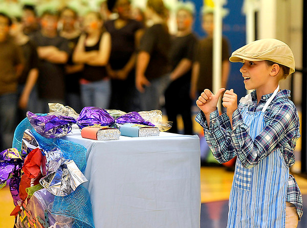 """Brad Davis/The Register-Herald<br /> Bradley Elementary student Mia Houcke performs as the Candy Man during """"Willy Wonka and the Chocolate Factory"""" at the 10th Annual Night of the Arts June 4 in Beckley."""