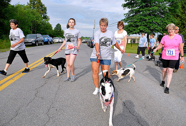 Brad Davis/The Register-Herald<br /> Participants and their furry friends get started during the walking portion of the Humane Society of Raleigh County's Fast & Furriest 5K run and 1 Mile Walk Saturday morning at the Humane Society's Grey Flats Road location.
