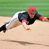 Brad Davis/The Register-Herald<br /> PikeView second baseman Jon Clark just misses snagging a sharp ground ball that found its way into right field, driving in a run for Bridgeport during their win over the Panthers Friday afternoon at Charleston's Appalachian Power Park.