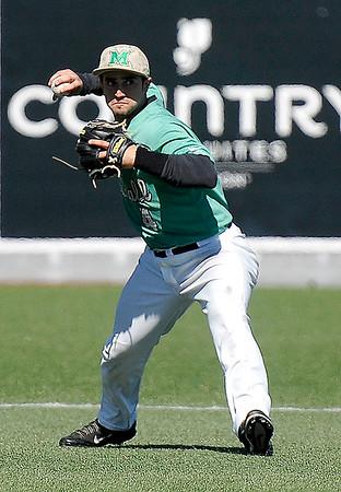 Brad Davis/The Register-Herald<br /> Marshall shortstop Sergio Leon fields a ground ball against UTSA March 15 at Linda K. Epling Stadium.