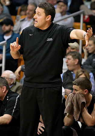 Brad Davis/The Register-Herald<br /> Westside head coach Nick Cook against Poca in the State Tournament March 20 in Charleston.
