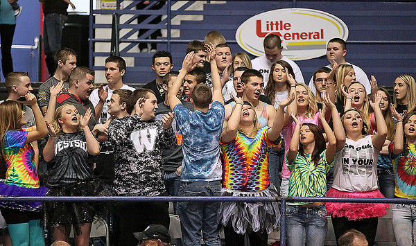 Brad Davis/The Register-Herald<br /> The Clear Fork Crazies brought their usual massive, colorful hoard of students to the Beckley-Raleigh County Convention Center to cheer on the Renegades Saturday afternoon against their arch rival Wyoming East.