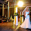 Brad Davis/The Register-Herald<br /> Bridal gown model and Beckley resident Preston Caperton makes her way off the stage after taking her turn during the fashion show portion of the Bridal Show Saturday afternoon at Tamarack.