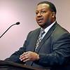 Brad Davis/The Register-Herald<br /> Councilman Ron Booker speaks during Heart of God Ministries' Black History Month celebration Sunday evening.