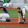 Brad Davis/The Register-Herald<br /> UTSA's John Bormann slides home safely as the throw from Marshall second baseman Josh King gets past catcher Matt Reed Saturday afternoon at Linda K. Epling Stadium.