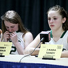 Brad Davis/The Register-Herald <br /> Wyoming East players Kara Sandy, right, and Gabby Lupardus are still trying to hold back tears as they courageously go before the media following a tough loss to Sissonville Friday night. The two freshmen were joined at the table by senior teammate Brianne Pertee, who said she expects them back in the State Tournament next year.