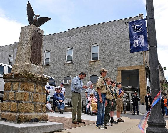 Brad Davis/The Register-Herald<br /> Mt. Hope's World War I monument re-dedication ceremony, May 23.