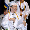 "Brad Davis/The Register-Herald<br /> Independence senior and student body president Chase Williams ad libs his way through a hilarious ""changing of the tassel"" speech during the school's 39th commencement ceremony Saturday morning at the Beckley-Raleigh County Convention Center."