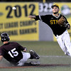 Brad Davis/The Register-Herald<br /> West Virginia State shortstop Cody Smith puts out Concord's Ryan Johnston at second to start a 4-6-3 double play during the Mountain Lions' Mountain East Conference Tournament loss to the Yellow Jackets Saturday night at Linda K. Epling Stadium.