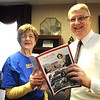 Rick Barbero/The Register-Herald<br /> Agnes Keatley, left, presented a copy of her book about the history of Beckley to Mayor Bill O'Brien.