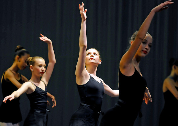 """Brad Davis/The Register-Herald<br /> Dancers from the """"Little Rats"""" group perform during a dress rehearsal for Beckley Dance Theatre's upcoming production, """"Big Town, Big Dreams"""" Sunday afternoon in the Woodrow Wilson High School Auditorium."""