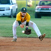 Brad Davis/The Register-Herald<br /> Greenbrier East second baseman Tanner McCallister fields a ground ball during the Spartans' win over Princeton Wednesday night in Fairlea.