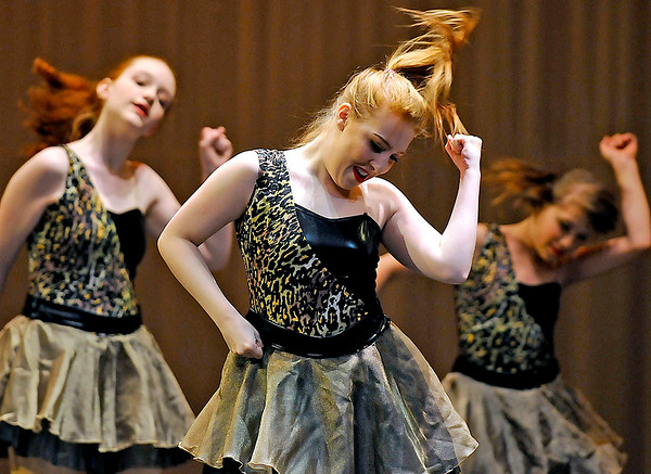 """Brad Davis/The Register-Herald<br /> Dancers from the """"Novice Company"""" group perform during a dress rehearsal for Beckley Dance Theatre's upcoming production, """"Big Town, Big Dreams"""" Sunday afternoon in the Woodrow Wilson High School Auditorium."""