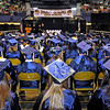 Brad Davis/The Register-Herald<br /> Graduating seniors sport customized caps with their gowns as they look on during the opening moments of Shady Spring High School's commencement ceremony Friday evening at the Beckley-Raleigh County Convention Center.