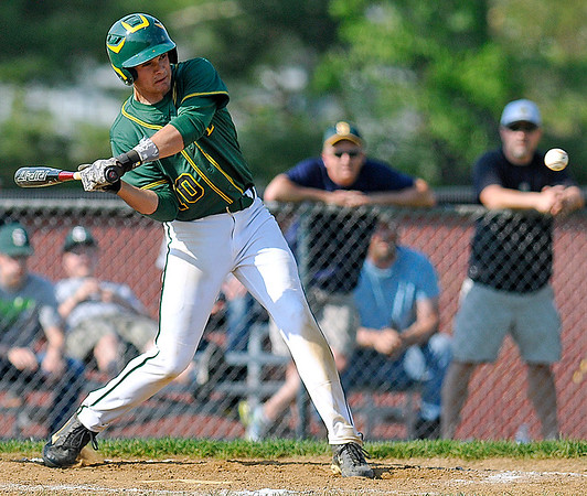 Brad Davis/The Register-Herald<br /> Greenbrier East's Tyler Canterbury takes a cut during a game at Woodrow Wilson May 8 in Beckley.