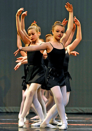 "Brad Davis/The Register-Herald<br /> Dancers from the ""Little Rats"" group perform during a dress rehearsal for Beckley Dance Theatre's upcoming production, ""Big Town, Big Dreams"" Sunday afternoon in the Woodrow Wilson High School Auditorium."