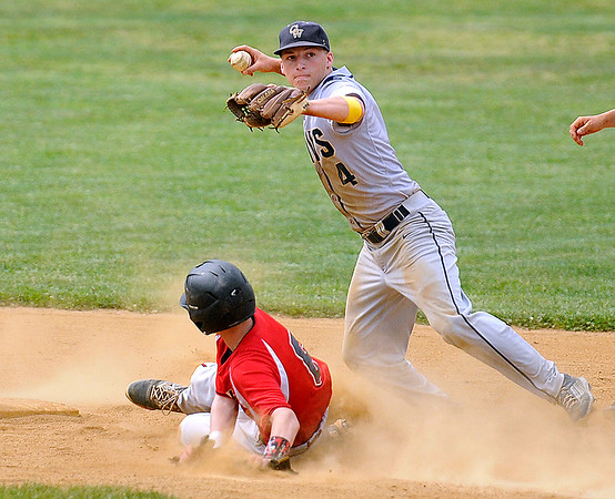 Brad Davis/The Register-Herald<br /> Greenbrier West shortstop Dustin Yoakum turns a double play against Greater Beckley Christian May 16 in Beckley.