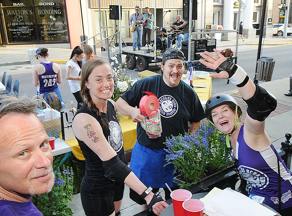 Rick Barbero/The Register-Herald<br /> Rodney Elkins, Amy Jones, Allen Mitchem and Yulanda Wiseman, all with the Beckley Derby Dames having a good time during Celebrity Night Monday at Fosters.