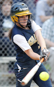 Chris Jackson/The Register-Herald Shady Spring's Brooke Clark (3) hits a pitch during their softball sectional game against Oak Hill in Shady Spring on May, 5, 2015.