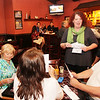 Chris Jackson/The Register-Herald<br /> Lola Rizer speaks with Peggy McClure, from left, and Carolyn and Chuck Turner, all from Ghent, at a table at Fujiyama on Harper Rd. in Beckley during Celebrity Night on Monday, May 4, 2015.