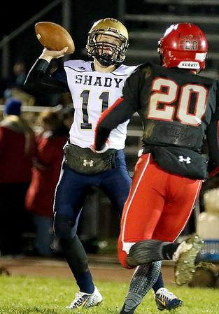 Brad Davis/The Register-Herald<br /> Shady Spring's Jerod Cline throws the ball against Liberty Friday night in Glen Daniel.
