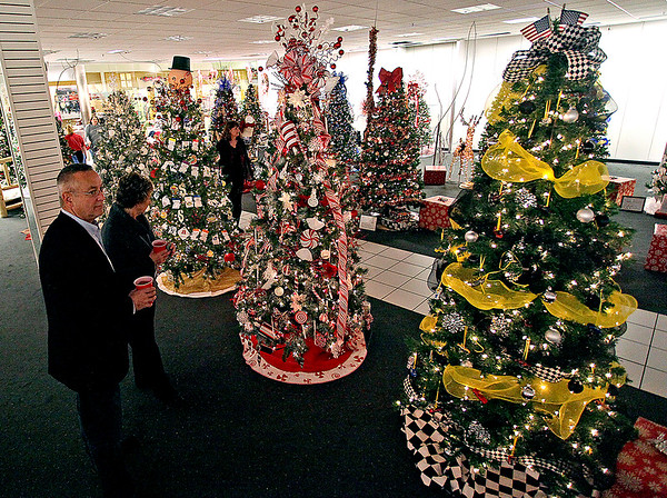 Brad Davis/The Register-Herald<br /> Patrons look over the many different Christmas trees available during the United Way's annual Wonderland of Trees charity auction event Friday night inside the Crossroads Mall.