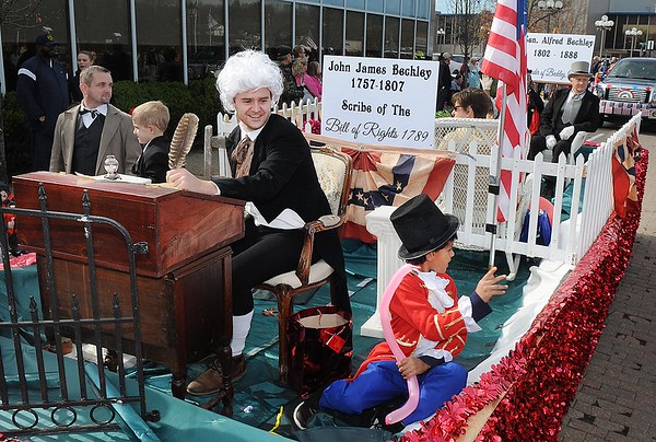 Rick Barbero/The Register-Herald<br /> Historical Society float going down Neville Street during the Beckley Veterans Day Parade held in downtown Beckley late Friday morning.