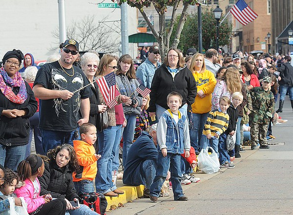 Rick Barbero/The Register-Herald<br /> Large crowd during the Beckley Veterans Day Parade held in downtown Beckley late Friday morning.