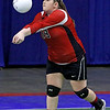 Brad Davis/The Register-Herald<br /> Greater Beckley Christian's Brooke Matheny returns a serve against Magnolia during Class A State Volleyball Tournament action Friday afternoon at the Charleston Civic Center.