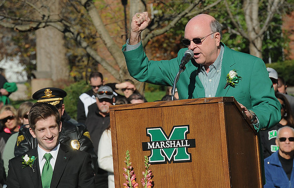 Rick Barbero/The Register-Herald<br /> Gary White, Interim President, spoke during Marshall University annual fountain ceremony at the Memorial Student Center Plaza Saturday morning honoring the 45th anniversary of the crash of Southern Airways Flight 932—a chartered airliner carrying the 1970 Marshall Football team that killed all 75 passengers and crew on board. The fountain, made of 75 upward-pointing rods to represent the victims, is turned off every year at the ceremony and remains off until spring practice begins for the following season. In all, 37 players, eight coaches, 25 fans and five crew members were killed in what stands as one of the worst tragedies in collegiate sports history.