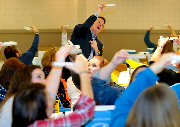 Brad Davis/The Register-Herald<br /> Award winning author and science teacher Steve Spangler demonstrates some of the fun, educational classroom activities that can be employed in teaching students the wonders of science and math for visiting grades 3-5 teachers from several area counties during a Regional Education Services Agency One seminar Saturday morning at the Beckley-Raleigh County Convention Center.