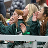Brad Davis/The Register-Herald<br /> Charleston Catholic girls soccer team players, fresh off their class AA-A state championship win earlier in the day, cheer on the boys' team against Fairmont Saturday afternoon at the YMCA Paul Cline Memorial Sports Complex.