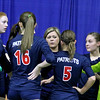 Brad Davis/The Register-Herald<br /> Independence head coach Nikki Hall, middle, coaches up her Patriots team during a timeout in Class AA State Volleyball Tournament action Friday morning at the Charleston Civic Center.