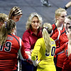 Brad Davis/The Register-Herald<br /> Greater Beckley Christian head coach Kerie Lopez tries to rally her players late in the thrid set against Magnolia during Class A State Volleyball Tournament action Friday afternoon at the Charleston Civic Center.