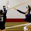 Chris Jackson/The Register-Herald<br /> Liberty's Hannah Trump (29) attempts to block a strike by Independence's Mykal Daniel (16) during their match at Independence High School.