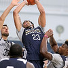 Brad Davis/The Register-Herald<br /> Forward/center Anthony Davis (#23) powers his way to the basket during New Orleans Pelicans training camp Wednesday afternoon in White Sulphur Springs.