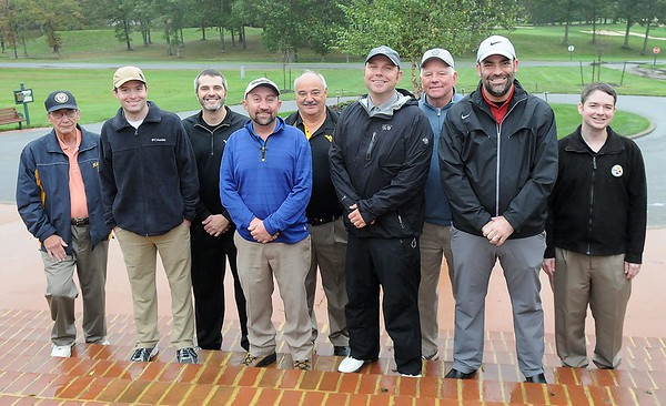 Rick Barbero/The Register-Herald<br /> The 1995 Woodrow Wilson AAA state championship golf got together at Glade Springs for a round of golf. Pictured from left, Larry Rupe, father of Jon Rupe, Darrell Matherly, Kenny Fly, Timmy Boggs, Ken Fly Sr., assistant coach, Adam Kaminski, Butch Freeman, assistant coach, Ty Barksdale and Brian Showalter.