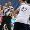 Brad Davis/The Register-Herald<br /> Area referee Pat Standard hustles down the court as he and others from the area work New Orleans Pelicans training camp Wednesday afternoon in White Sulphur Springs.