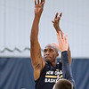 Brad Davis/The Register-Herald<br /> Forward Dante Cunningham shoots for three during New Orleans Pelicans training camp Wednesday afternoon in White Sulphur Springs.