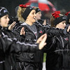 Brad Davis/The Register-Herald<br /> Liberty cheerleaders dance in the rain during a soggy contest with Princeton Friday night in Glen Daniel.