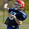 Brad Davis/The Register-Herald<br /> Shady Spring quarterback Sam Lilly throws a pass during a charity football game between the Mt. Hope WV Storm adult team and a team of past high school players from around the area Sunday afternoon at Shady Spring High School.